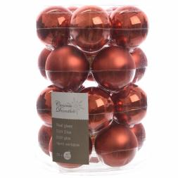 Glas Kerstballen (60mm) Box 20 Stuks Emaille Mat Autumn Red