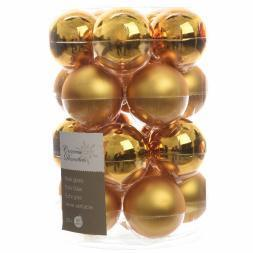 Glas Kerstballen (60mm) Box 20 Stuks Glans Mat Intense Gold