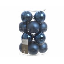 Glas Kerstballen (80mm) Box 16 Stuks Glans Mat Night Blue