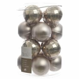 Glas Kerstballen (80mm) Box 16 Stuks Emaille Mat Naturel Linen