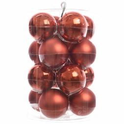 Glas Kerstballen (80mm) Box 16 Stuks Emaille Mat Autumn Red