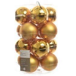 Glas Kerstballen (80mm) Box 16 Stuks Glans Mat Intense Gold