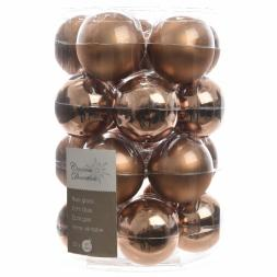 Glas Kerstballen (60mm) Box 20 Stuks Glans Mat Suède Brown