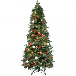 Kerstboom met verlichting Easy Set Up Tree Led Mandal Decorated 180 Red