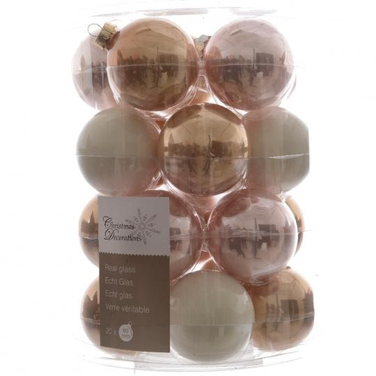 Glas Kerstballen Mix (60mm) Box 20 Stuks Parel Mix